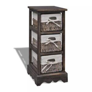 Estante de armazenamento de madeira com 3 cestos, castanho - PORTES GRÁTIS