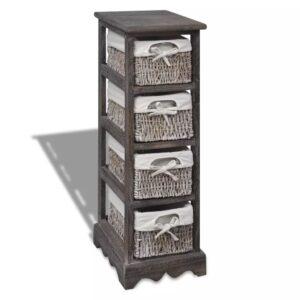 Estante de armazenamento de madeira com 4 cestos, castanho - PORTES GRÁTIS