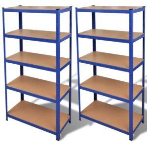 Estante de armazenamento em azul 2 peças - PORTES GRÁTIS