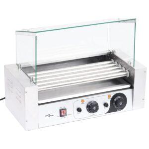 Máquina de cachorros-quentes 5 rolos c/ tampa de vidro 1000 W - PORTES GRÁTIS