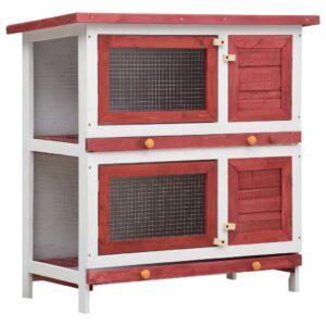 Coelheira de exterior 4 portas madeira vermelho - PORTES GRÁTIS