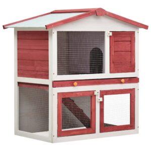 Coelheira de exterior 3 portas madeira vermelho - PORTES GRÁTIS