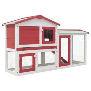 Coelheira exterior grande 145x45x85cm madeira vermelho e branco - PORTES GRÁTIS