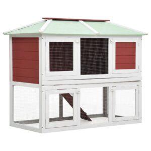 Gaiola para coelho c/ dois pisos madeira vermelho - PORTES GRÁTIS