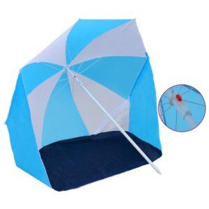 Guarda-sol de praia com abrigo 180 cm tecido azul e branco  - PORTES GRÁTIS
