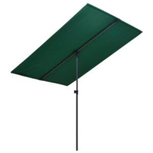 Guarda-sol de exterior com mastro de alumínio 180x130 cm verde  - PORTES GRÁTIS