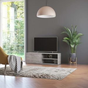 Móvel de TV 120x34x37 cm contraplacado cinzento cimento - PORTES GRÁTIS