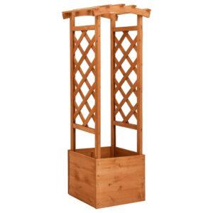 Vaso de treliça com arco 49x39x130 cm madeira de abeto - PORTES GRÁTIS