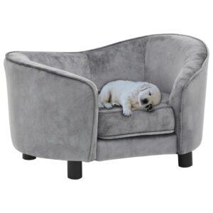 Sofá para cães 69x49x40 cm pelúcia cinzento - PORTES GRÁTIS