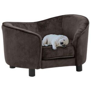 Sofá para cães 69x49x40 cm pelúcia castanho - PORTES GRÁTIS