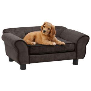 Sofá para cães 72x45x30 cm pelúcia castanho - PORTES GRÁTIS