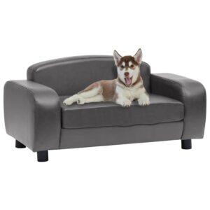 Sofá para cães 80x50x40 cm couro artificial cinzento - PORTES GRÁTIS