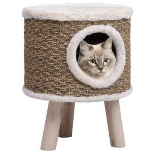 Ninho para gatos c/ pernas de madeira 41 cm ervas marinhas  - PORTES GRÁTIS
