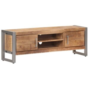 Móvel de TV 120x30x40 cm madeira de mangueira áspera - PORTES GRÁTIS