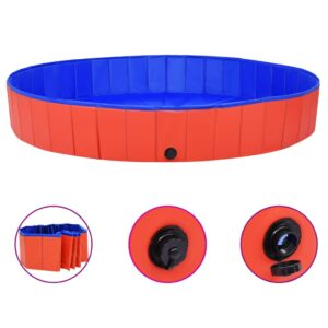 Piscina para cães dobrável 200x30 cm PVC vermelho - PORTES GRÁTIS