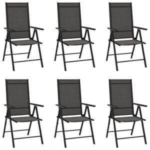 Cadeiras de jardim dobráveis 6 pcs textilene preto - PORTES GRÁTIS