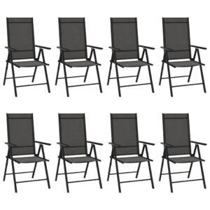 Cadeiras de jardim dobráveis 8 pcs textilene preto - PORTES GRÁTIS