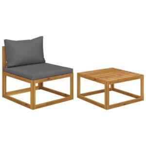 2 pcs conjunto de sofás de jardim com almofadão acácia maciça - PORTES GRÁTIS