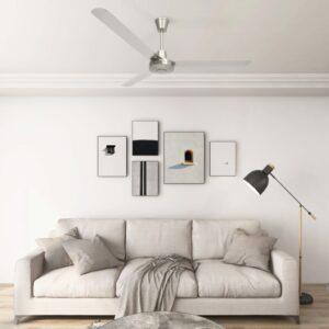 Ventoinha de teto 142 cm prateado - PORTES GRÁTIS