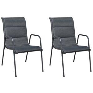 Cadeiras de jardim empilháveis 2 pcs aço e textilene preto - PORTES GRÁTIS