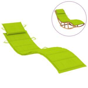 Almofadão para espreguiçadeira 186x58x4 cm verde brilhante - PORTES GRÁTIS