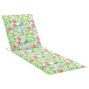 Almofadão p/ espreguiçadeira 200x60x4cm tecido padrão de folhas - PORTES GRÁTIS