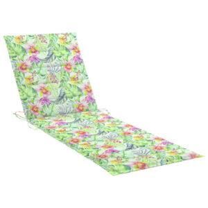 Almofadão p/ espreguiçadeira 200x70x4cm tecido padrão de folhas - PORTES GRÁTIS