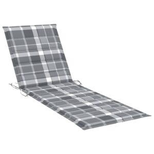 Almofadão espreguiçadeira 200x70x4cm tecido padrão xadrez cinza - PORTES GRÁTIS