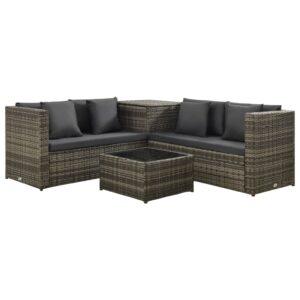 4 pcs conjunto lounge de jardim c/ almofadões vime PE cinzento - PORTES GRÁTIS