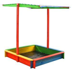 Caixa de areia c/ telhado ajustável madeira abeto UV50 multicor - PORTES GRÁTIS