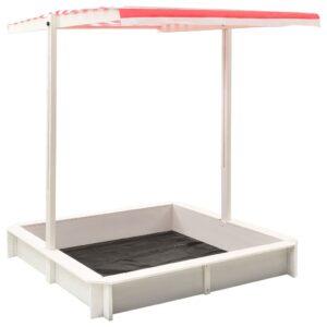 Caixa de areia c/ telhado ajustável abeto UV50 branco/vermelho - PORTES GRÁTIS