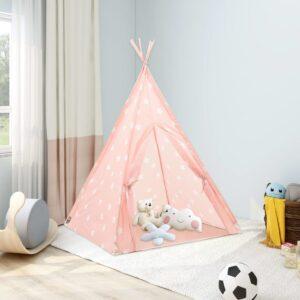 Tenda teepee infantil c/ saco poliéster 115x115x160 cm rosa - PORTES GRÁTIS