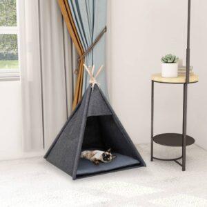 Tenda teepee para gatos com saco 60x60x70 cm veludo preto - PORTES GRÁTIS