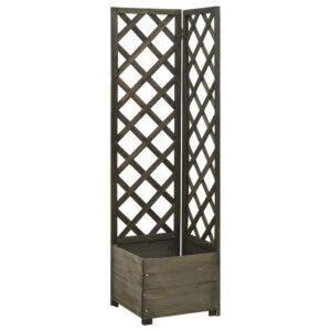 Vaso com treliça de canto 40x40x150 cm abeto maciço cinzento  - PORTES GRÁTIS