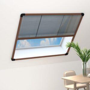 Tela anti-insetos plissada janelas 120x120cm alumínio castanho - PORTES GRÁTIS