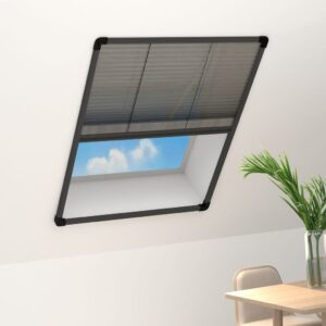 Tela anti-insetos plissada janelas 80x100cm alumínio antracite - PORTES GRÁTIS