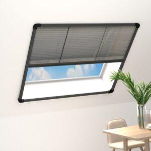 Tela anti-insetos plissada janelas 120x120cm alumínio antracite - PORTES GRÁTIS