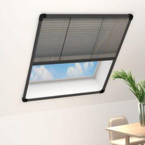 Tela anti-insetos plissada janelas 80x160cm alumínio antracite - PORTES GRÁTIS