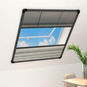 Tela anti-insetos plissada janela c/ quebra-luz alum. 80x100cm - PORTES GRÁTIS