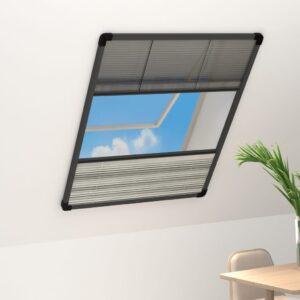 Tela anti-insetos plissada janela quebra-luz alumínio 80x120cm - PORTES GRÁTIS