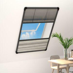 Tela anti-insetos plissada janela c/ quebra-luz alum. 110x160cm - PORTES GRÁTIS