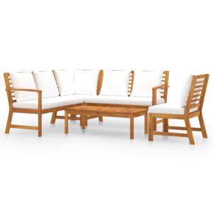 5 pcs conj. lounge jardim c/ almofadões cor creme acácia maciça - PORTES GRÁTIS