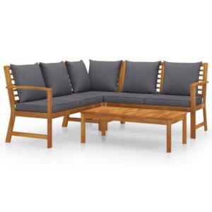 4 pcs conjunto lounge de jardim c/ almofadões acácia maciça - PORTES GRÁTIS