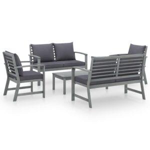 5 pcs conj. lounge jardim c/ almofadões acácia maciça cinzento - PORTES GRÁTIS