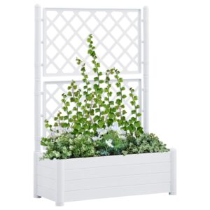 Vaso/floreira de jardim com treliça 100x43x142 cm PP branco - PORTES GRÁTIS