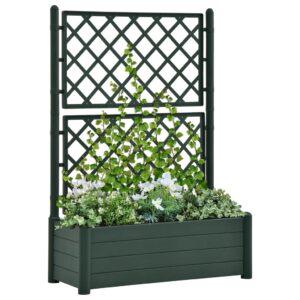 Vaso/floreira de jardim com treliça 100x43x142 cm PP verde - PORTES GRÁTIS