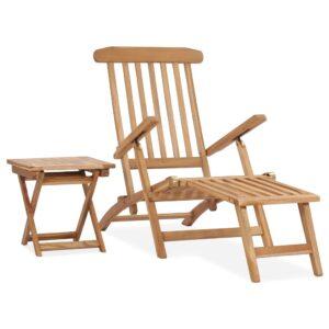 Cadeira de jardim c/ apoio de pés e mesa madeira de teca maciça - PORTES GRÁTIS