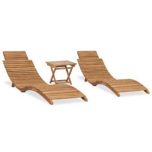 3 pcs conj. lounge de jardim dobrável madeira de teca maciça    - PORTES GRÁTIS