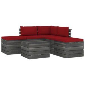 6 pcs conjunto lounge de paletes com almofadões pinho maciço - PORTES GRÁTIS