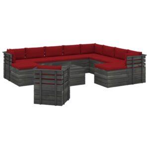12 pcs conjunto lounge de paletes com almofadões pinho maciço - PORTES GRÁTIS